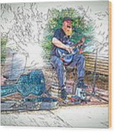 Happy The Busker Wood Print