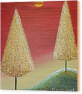 Happy Trees With Red Sky Wood Print
