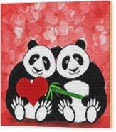Happy Valentines Day Panda Couple Hearts Bokeh Wood Print