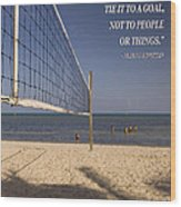 Happy Volleyball Goal Wood Print