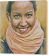 Happy Woman Wood Print