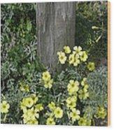 Happy Yellow Flowers Wood Print