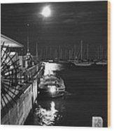 Harbor Boat At Night Wood Print