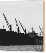 Harbor Cranes In Silhouette Wood Print