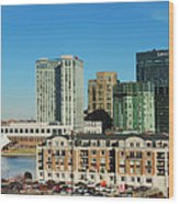 Harbor East Complex In Baltimore From Federal Hill Wood Print