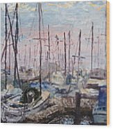 Harbor In Early Morning Wood Print