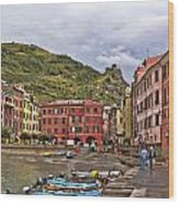 Harbor In Vernazza Wood Print