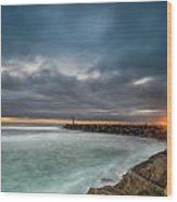 Harbor Jetty Sunset Wood Print
