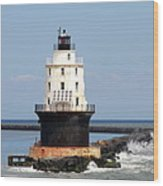 Harbor Of Refuge Light  And Breakwater Wood Print