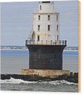 Harbor Of Refuge Light  Wood Print