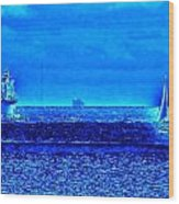 Harbor Of Refuge Lighthouse And Sailboat Abstract Wood Print
