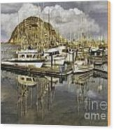 Harbor Reflection Impasto Wood Print
