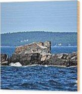 Harbor Rocks Wood Print