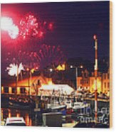 Harbour Fireworks Wood Print