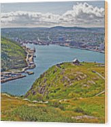 Harbour View From Signal Hill National Historic Site In Saint John's-nl Wood Print