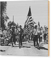 Hard Hat Pro-viet Nam War March Saluting Cops Tucson Arizona 1970 Black And White Wood Print