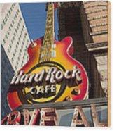 Hard Rock Cafe Guitar Sign In Philadelphia Wood Print