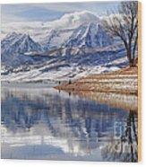 Hardy Fishermen Deer Creek Reservoir And Timpanogos In Winter Wood Print