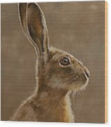 Hare Portrait I Wood Print