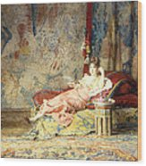 Harem Beauty Wood Print by Alexandre Louis Leloir