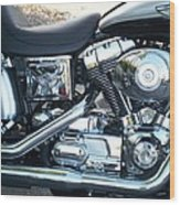 Harley Black And Silver Sideview Wood Print