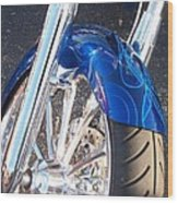 Harley Close-up Blue Flame  Wood Print