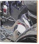Harley Close-up Blue Lights Wood Print