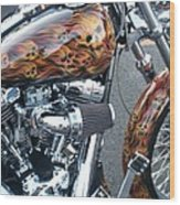 Harley Close-up Skull Flame  Wood Print