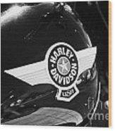 Harley Davidson Aviation Themed Star Logo On Fat Boy Bike In Orlando Florida Usa Wood Print