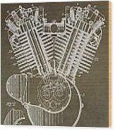Harley Davidson Engine Wood Print by Dan Sproul