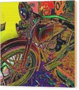 Harley Davidson In Neon  Wood Print