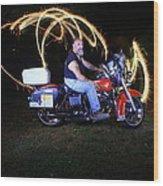 Harley Davidson Light Painting Wood Print