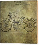 Harley Davidson Motorbike Patent  Wood Print