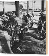 Harley Davidson Touring Motorbikes Including Electra Glide Outside Dealership In Orlando Florida Usa Wood Print