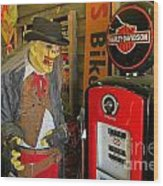 Harley Davidson Vintage Gas Pump Wood Print