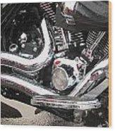 Harley Engine Close-up Rain 2 Wood Print