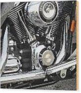 Harley Engine Close-up Rain 3 Wood Print