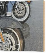 Harley Line Up Rain Wood Print