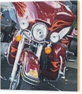 Harley Red W Orange Flames Wood Print