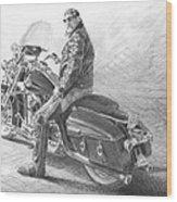 Harley Rider Pencil Portrait Wood Print