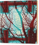 Harmonious Colors - Red White Turquoise Wood Print