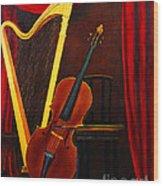 Harp And Cello Wood Print