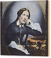 Harriet Beecher Stowe (1811-1896). American Abolitionist And Writer. Oil Over A Daguerrotype, C1852 Wood Print