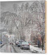 Harrisburg On Ice Wood Print