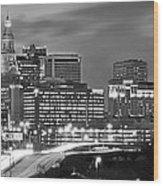 Hartford Skyline At Night Bw Black And White Panoramic  Wood Print