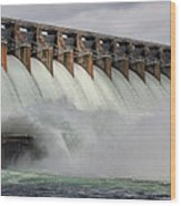Hartwell Dam With Flood Gates Open Wood Print