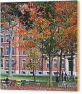 Harvard Yard Fall Colors Wood Print