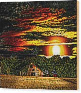 Harvest Moon And Late Barn Wood Print