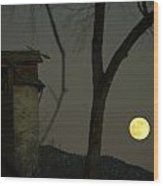 Harvest Moon And The Dead Granary Wood Print