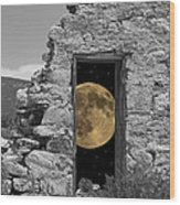 Harvest Moon Through The Magic Door Wood Print